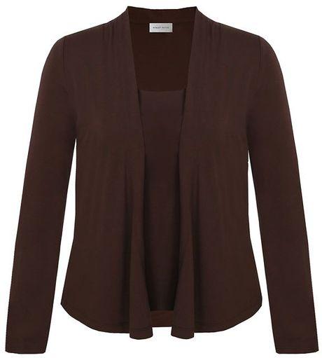 Petite Brown Cardigan - Sweater Grey