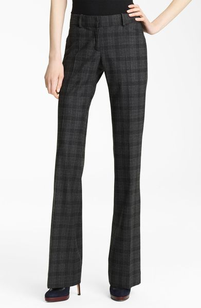 Oscar De La Renta Plaid Flannel Trousers in Black - Lyst