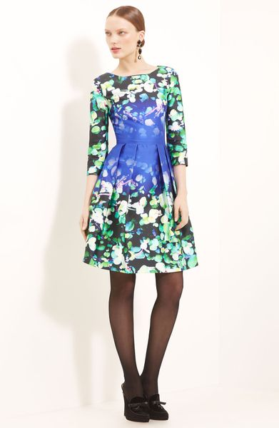 Oscar De La Renta Leaf Print Silk Cotton Dress in Multicolor (royal multi) - Lyst