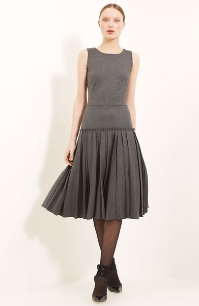 Oscar De La Renta Drop Waist Flannel Dress in Gray (steel)