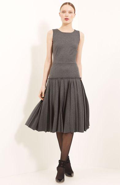 Oscar De La Renta Drop Waist Flannel Dress in Gray (steel)