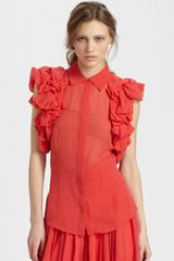 Rachel Zoe Camilla Silk Ruffle Blouse in Red (poppy) - Lyst