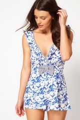 River Island River Island Blue Peter Pan V Neck Playsuit - Lyst
