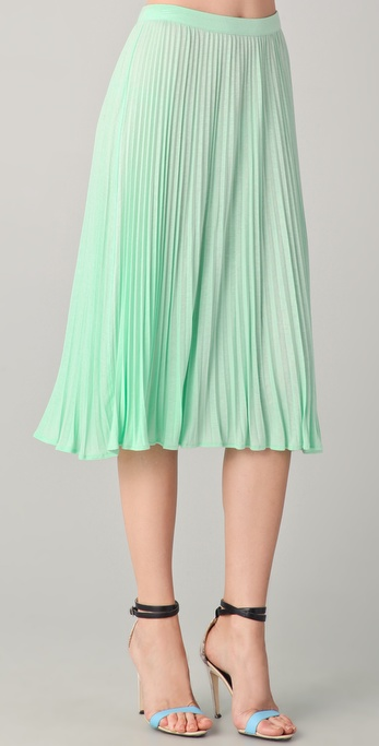 Tibi Pleated Skirt in Green | Lyst