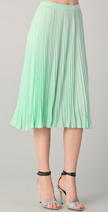 Tibi Pleated Skirt in Green | Lyst