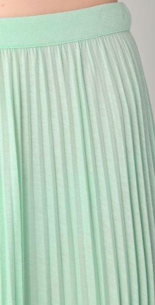tibi pleated skirt in green mint lyst