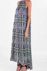Tibi Layla Ikat Long Dress in Blue (navy multi) - Lyst