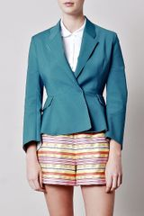 Acne Turner Peplum Jacket in Blue (teal) - Lyst