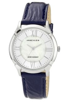 Anne Klein Navy Crinkled Patent Leather Strap 36mm 10 - Lyst