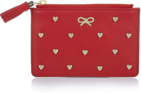 Anya Hindmarch Floyd Heartstudded Leather Coin Purse in Red - Lyst
