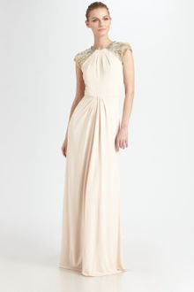 Badgley Mischka Beaded Capsleeve Gown - Lyst