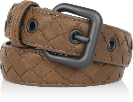 Bottega Veneta Intrecciato Leather Belt in Beige (chestnut) - Lyst