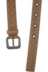 Bottega Veneta Intrecciato Leather Belt in Brown (taupe) - Lyst