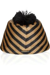 Burberry Prorsum Striped Raffiaeffect Hat in Beige (camel) - Lyst