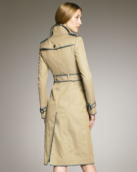 Burberry Prorsum Whipstitchtrim Trenchcoat in Beige (honey) - Lyst