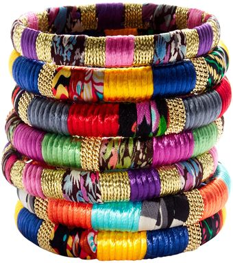 Cara Accessories Mixedfabric and Gold Bangle - Lyst
