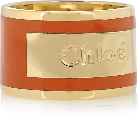 Chloé Holly Enameled Brass Ring in Gold - Lyst