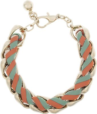 Chloé Rebecca Woven Brass and Leather Chain Bracelet - Lyst