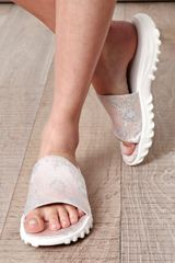 Christopher Kane Metallic Brocade Sandals in White - Lyst