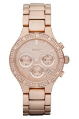 DKNY Womens Chronograph Rose Gold Tone Stainless Steel Bracelet 38mm - Lyst