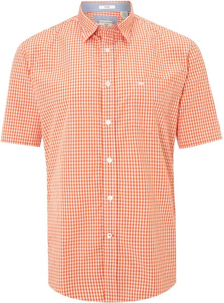 Dockers Short Sleeved Gingham Shirt In Orange For Men