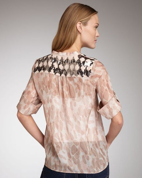 Elizabeth And James Tokyo Printed Silk Top in Pink (rose quartz) - Lyst