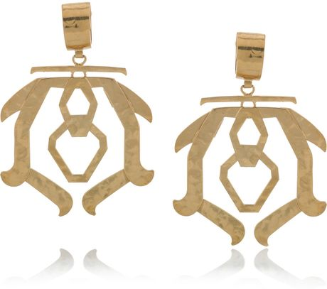 Etro Hammered Brass Clip Earrings in Gold - Lyst
