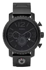 Fossil Mens Chronograph Black Plated Stainless Steel Bracelet  - Lyst