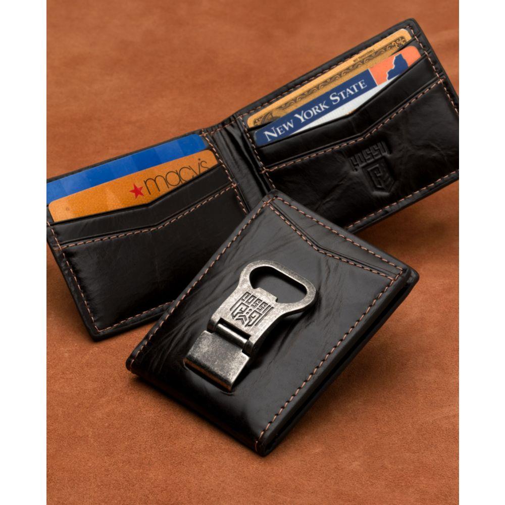 fossil bottle opener leather wallet in black for men lyst. Black Bedroom Furniture Sets. Home Design Ideas