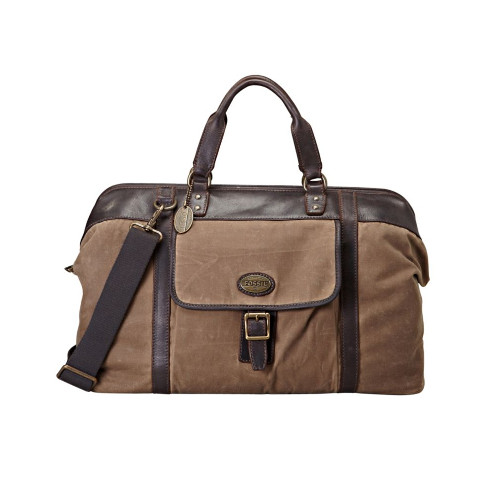 fossil estate waxed canvas duffle bag in brown for men
