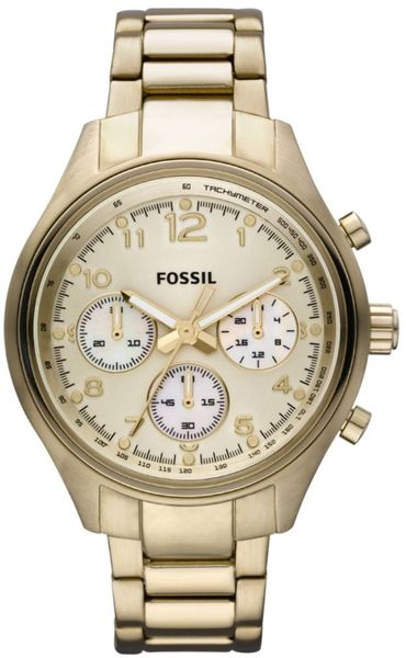 Fossil Chronograph Gold Ion Plated Stainless Steel Bracelet  in Gold - Lyst