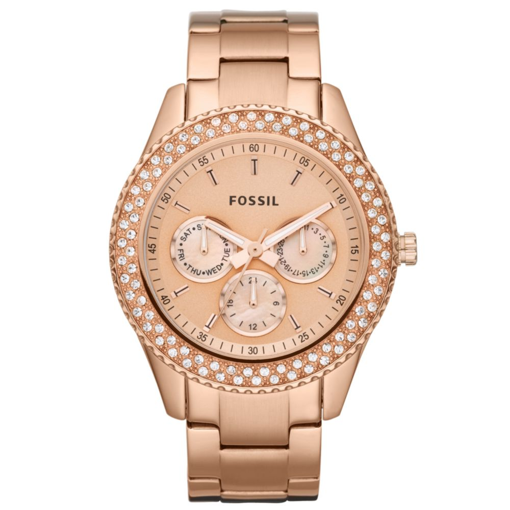 fossil chronograph stella glitz rose gold ion plated. Black Bedroom Furniture Sets. Home Design Ideas