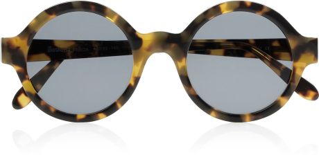 Illesteva Frieda Roundframe Acetate Sunglasses in Brown (smoke)
