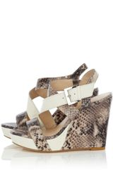 Karen Millen Modern Snake Wedge in Animal (cream) - Lyst