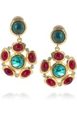 Kenneth Jay Lane 22karat Goldplated Crystal Clip Earrings - Lyst