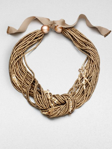 Lafayette 148 new york ribbontie beaded necklace in gold for Ribbon tie necklace jewelry
