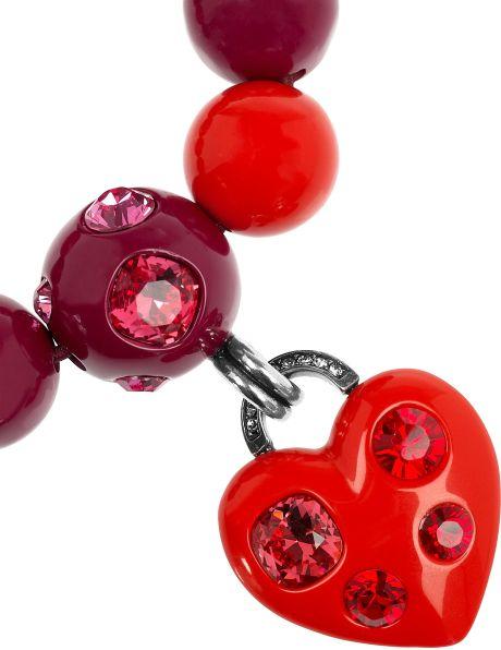 Lanvin Swarovski Crystal Heart Charm Bracelet In Red