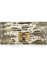 Lanvin Happy Lizard Effect Glossed Leather Wallet - Lyst