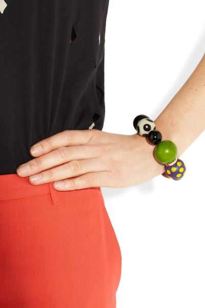 Marni Resin And Wooden Beaded Bracelet In Multicolor