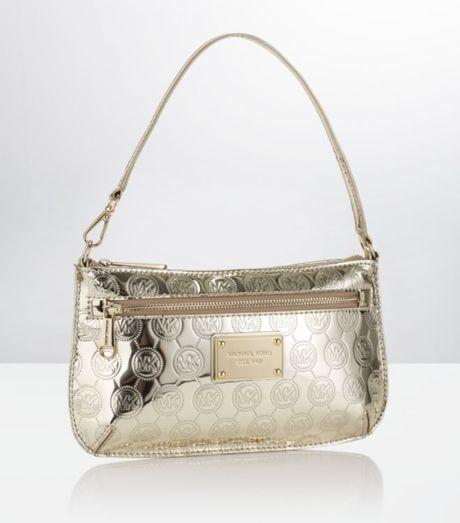 Michael Michael Kors Jet Set Monogram Wristlet in Gold (jet)