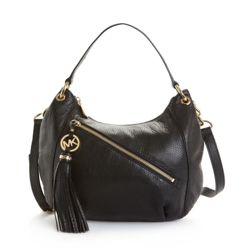 ce94f7196651 Lyst - Michael Kors Charm Tassel Convertible Shoulder Bag in Black