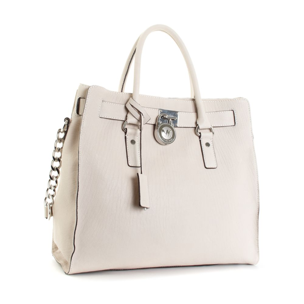 e580bb1b5606 Michael Kors - White Large Hamilton Chain Tote with Silver Hardware - Lyst