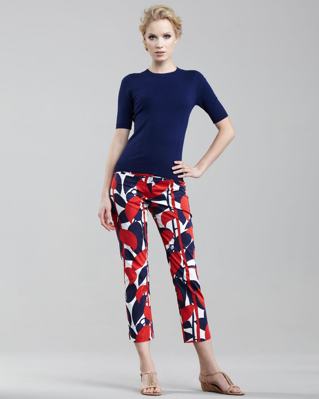 078ecef0eae6 Lyst - MILLY Annie Printed Capri Pants in Blue