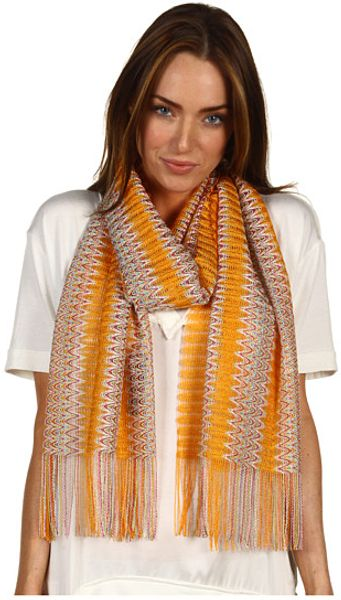 Missoni Clandestine Stripe Zigzag Scarf in Brown (s) - Lyst