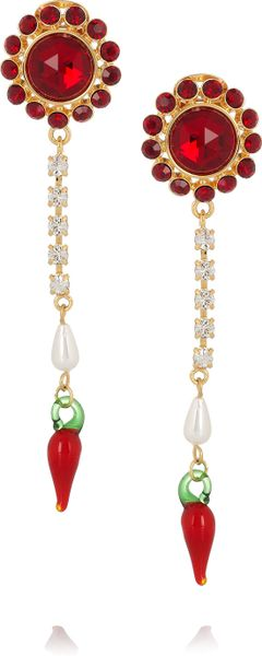Miu Miu Crystal and Glass Drop Clip Earrings in Gold - Lyst