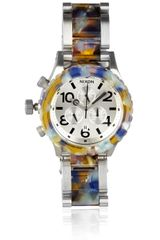 Nixon 4220 Chrono Watercoloreffect Acetate and Stainless Steel Watch in Gray (steel) - Lyst