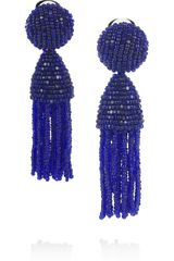Oscar de la Renta Beaded Tassel Clip Earrings - Lyst