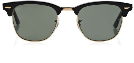 Ray-ban Club Master Half Frame Acetate Sunglasses in Black - Lyst