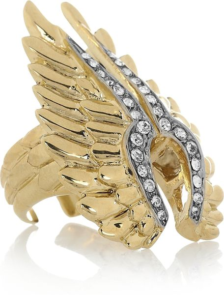 Roberto Cavalli Goldplated Swarovski Crystal Wing Ring in Gold - Lyst