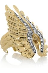 Roberto Cavalli Goldplated Swarovski Crystal Wing Ring - Lyst
